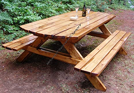 Outstanding Picnic Table W Benches Paper Plans So Easy Beginners Look Bralicious Painted Fabric Chair Ideas Braliciousco