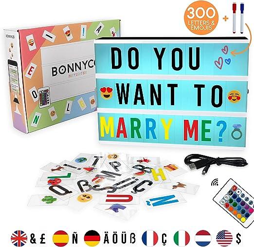 Caja de Luz A4 16 Colores con 300 Letras y Emojis, Mando, 2 Rotuladores – BONNYCO |