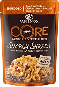 Wellness CORE Simply Shreds Natural Grain Free Wet Dog Food Mixer or Topper, Chicken Liver & Broccoli, 2.8-Ounce Pouch (Pack of 12)