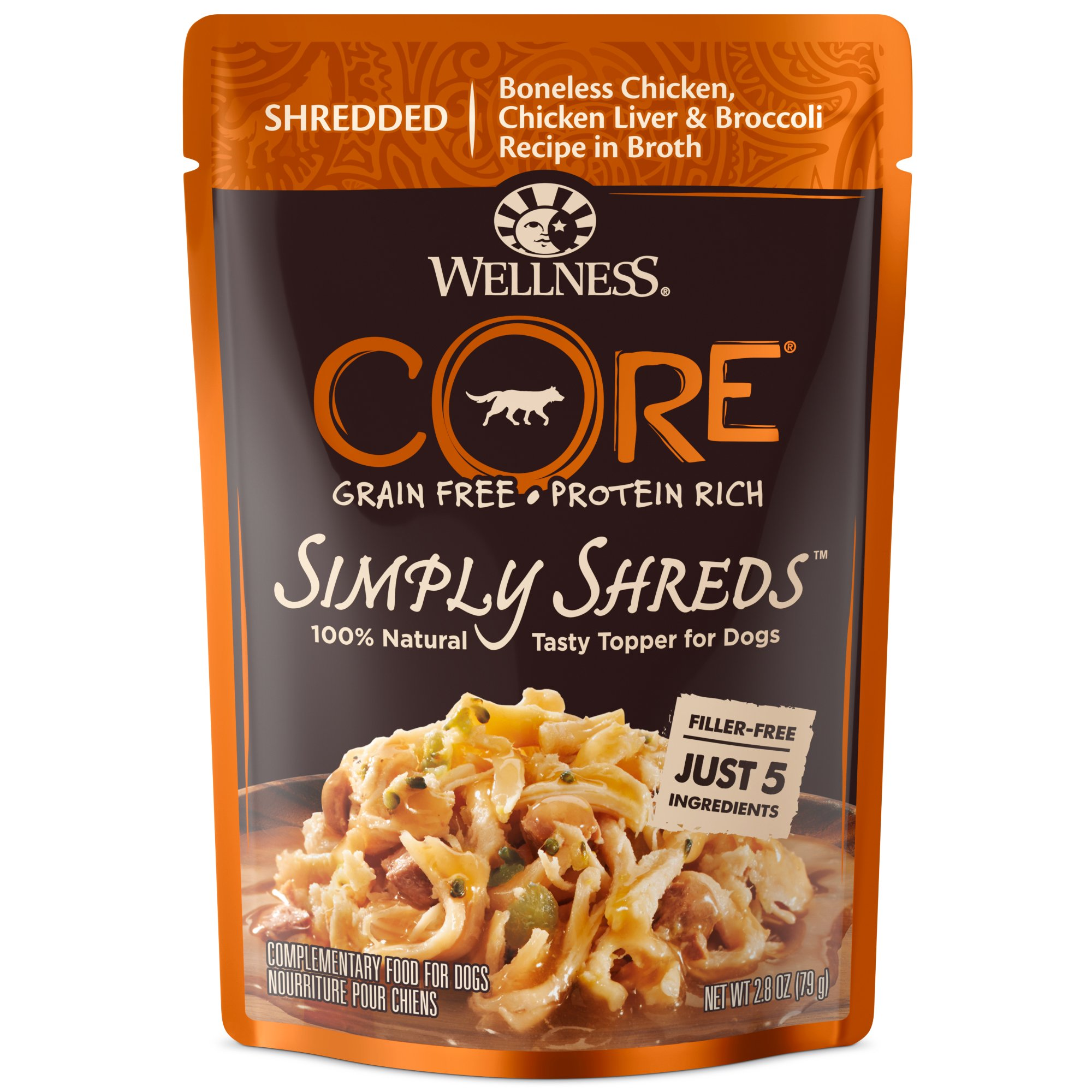 Wellness Core Simply Shreds Natural Grain Free Wet Dog Food Mixer Or Topper, Chicken, Chicken Liver & Broccoli, 2.8-Ounce Pouch, (Pack Of 12) by Wellness Natural Pet Food