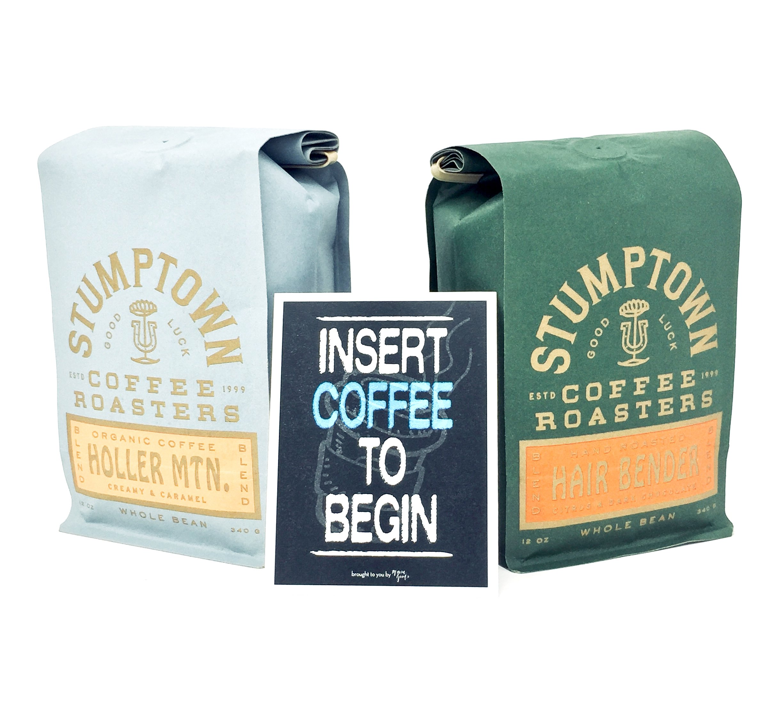 Stumptown Coffee - Hairbender and Holler Mountain Blend Coffee Gift Bundle, Whole Bean Roast, 12 oz bag