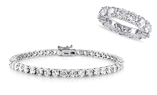 c90f2829f5766 NYC Sterling Cubic Zirconia Eternity Ring and Tennis Bracelet Set