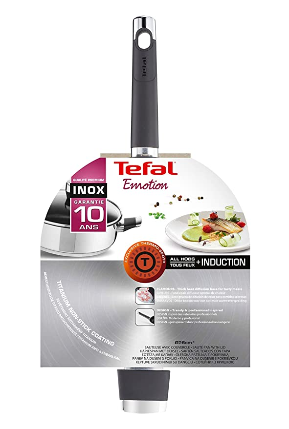 Amazon.com: Tefal E8243314 Emotion Wok Stainless Steel 43 x 27 x 10 cm by Tefal: Home & Kitchen