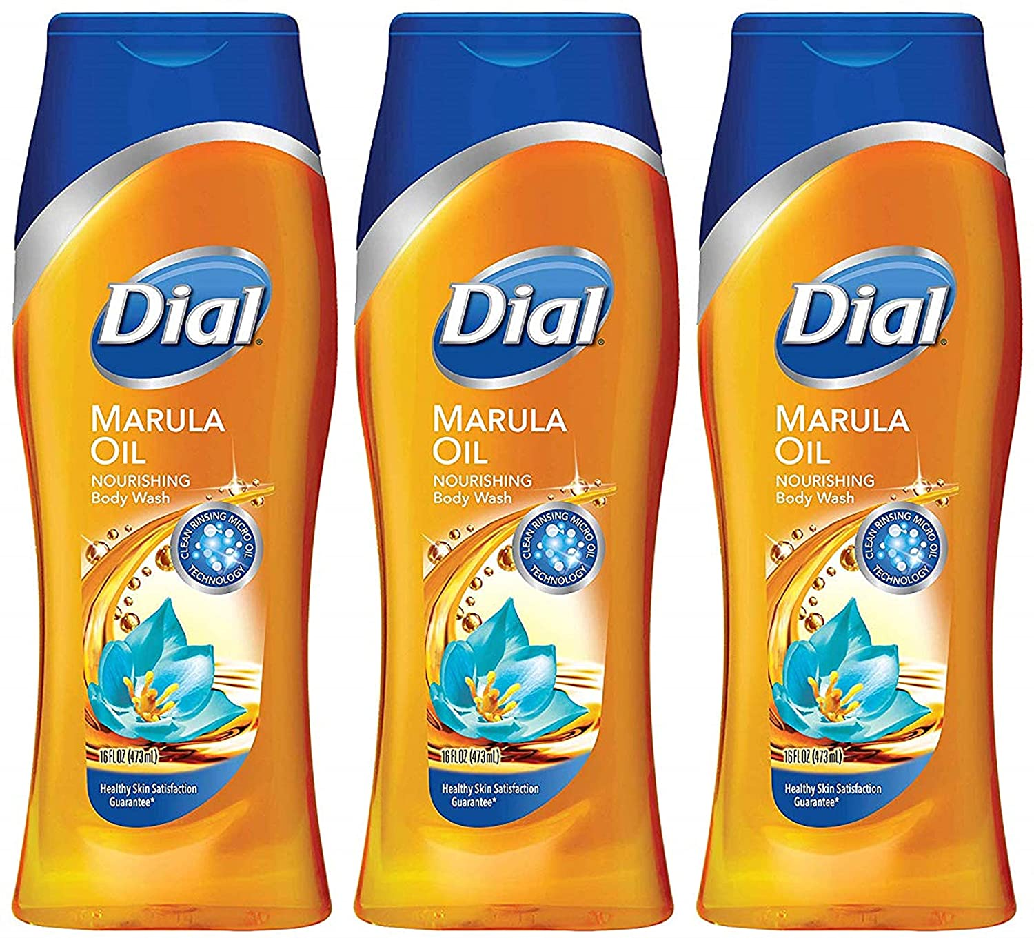 Dial Restoring Body Wash - Miracle Oil - With Marula Oil - Net Wt. 16 FL OZ (473 mL) Per Bottle - Pack of 3