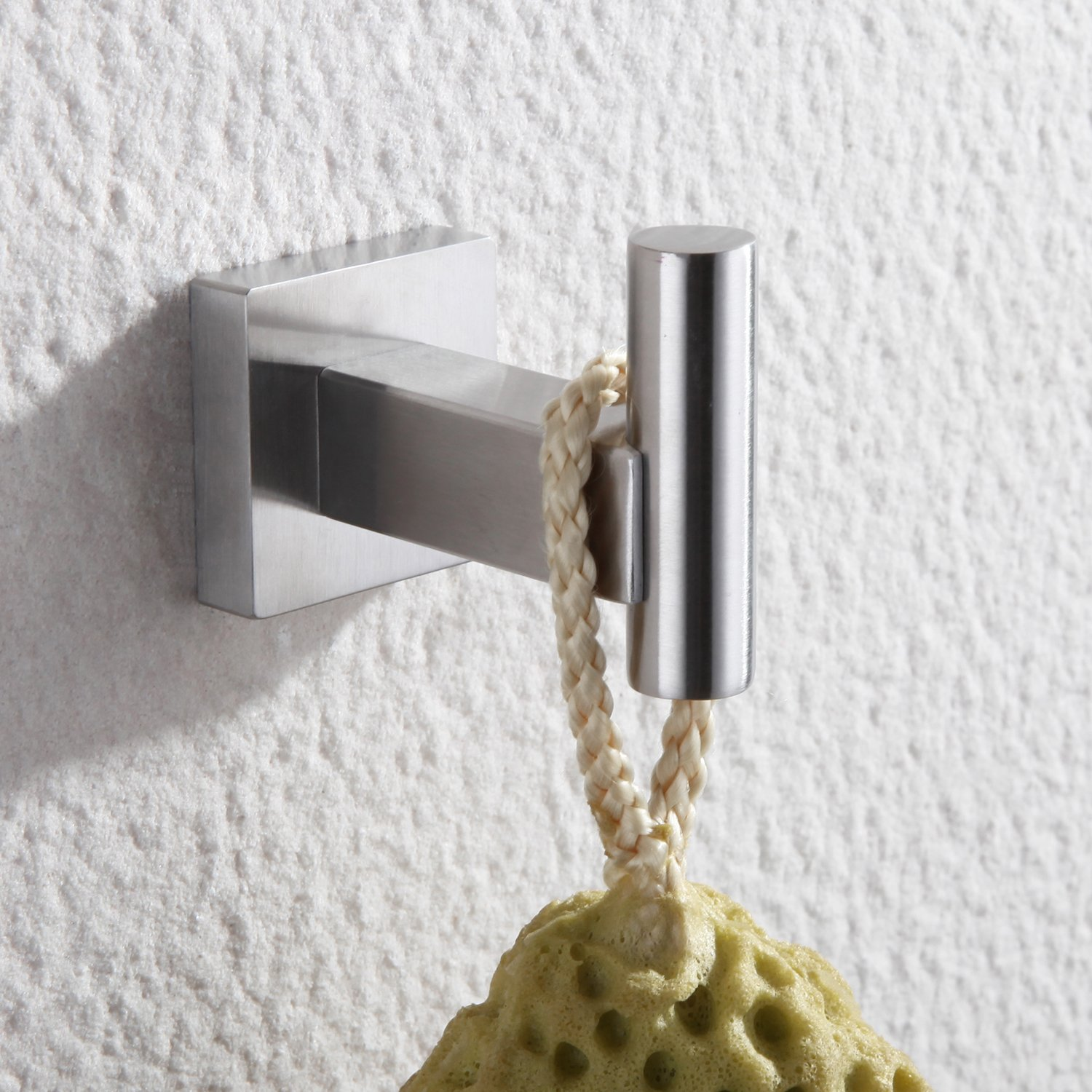 . Haiying Single Towel Hook for Bathroom Robe Hook in Shower Hook SUS 304  Stainless Steel Modern Square Style Wall Mount Brushed Finish