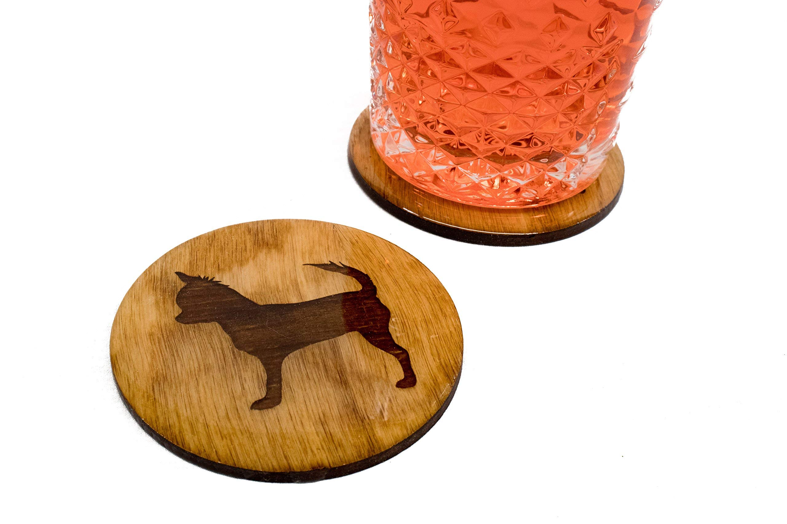 Premium Chihuahua Coasters - 4 Quality Handmade Engraved 3.5'' Round Wooden Natural Home Dog Lover by 1337 Shady Studios