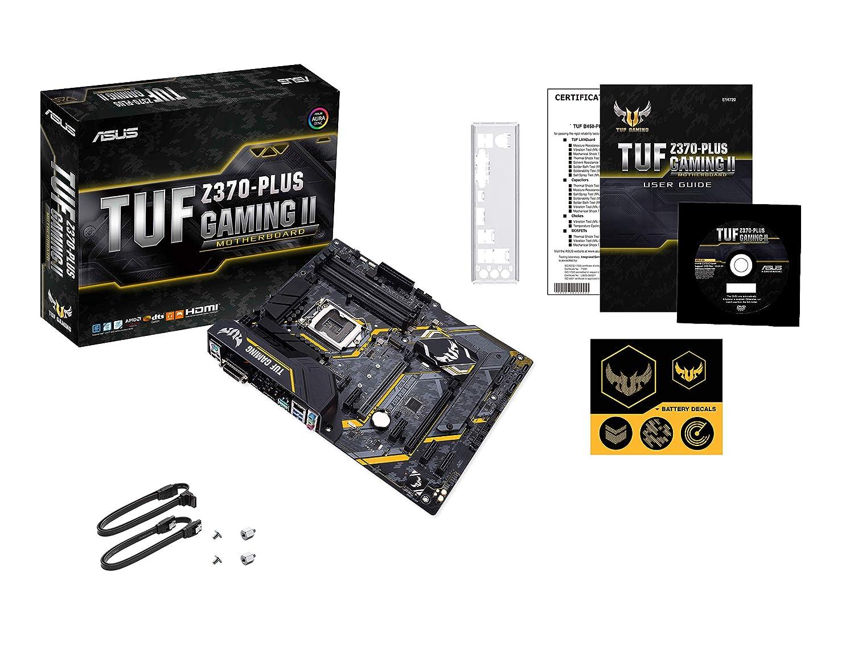 Nero Asus TUF Z370-PLUS GAMING II Scheda Madre Gaming per Processori Intel LGA 1151 di 9th//8th gen Supporto RAM DDR4 4000MHz 32 GB//s M.2 Memoria Intel Optane ATX LED e USB 3.1