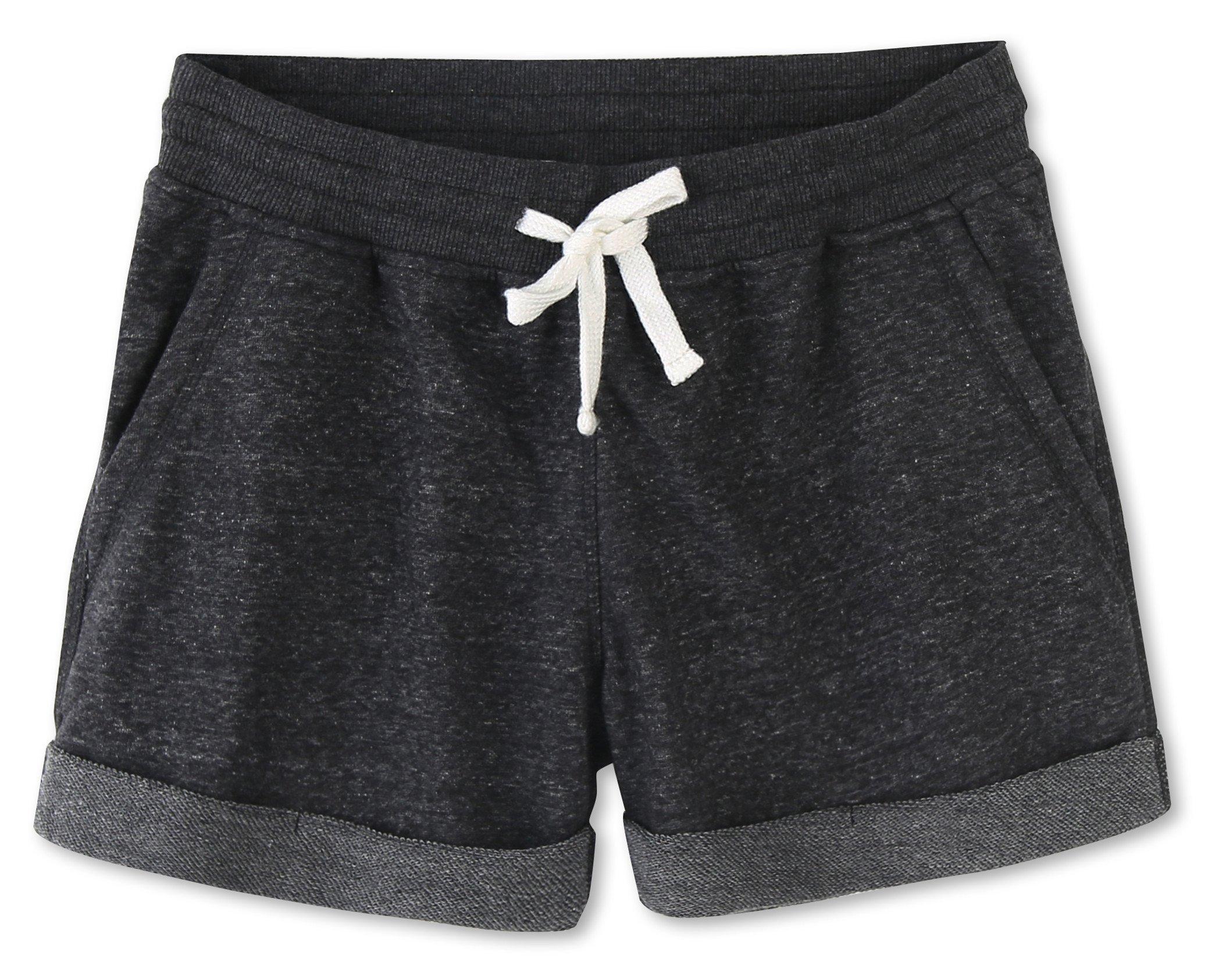 Vetemin Women's Juniors Cotton Stretch Activewear Lounge Shorts Black Melange XL