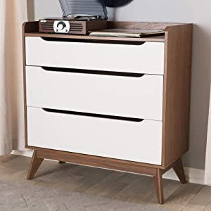 Baxton Studio 3-Drawer Storage Chest in White and Walnut