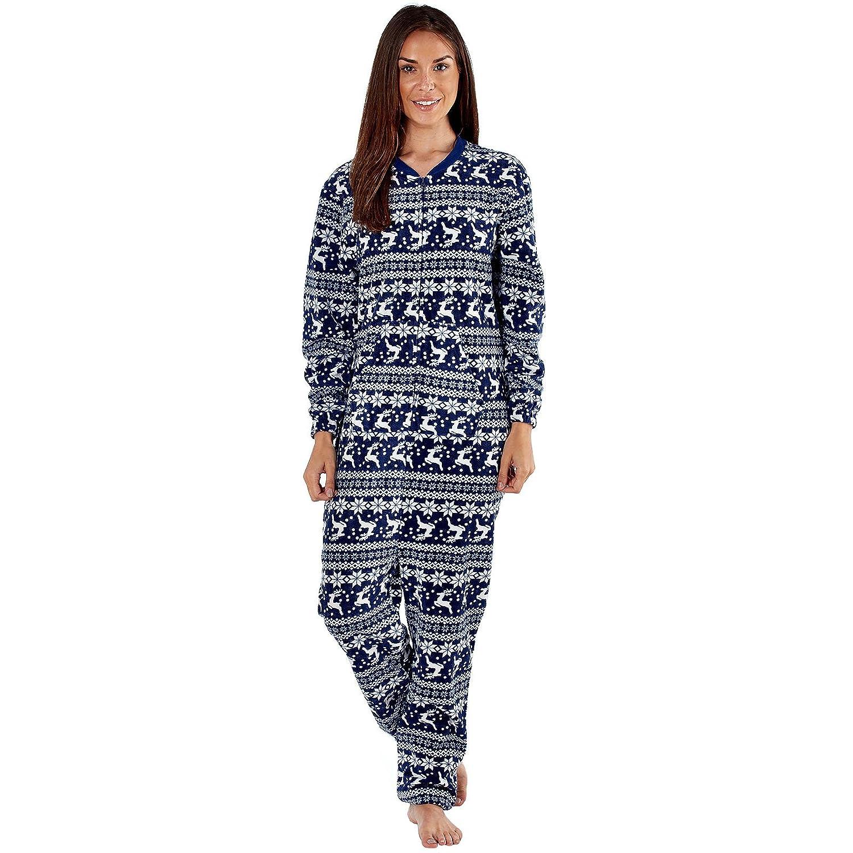 b195b352b054 womens fleece ones ladies all in one nightwear sleepwear pajama jumpsuit  sleep suit  Amazon.co.uk  Clothing
