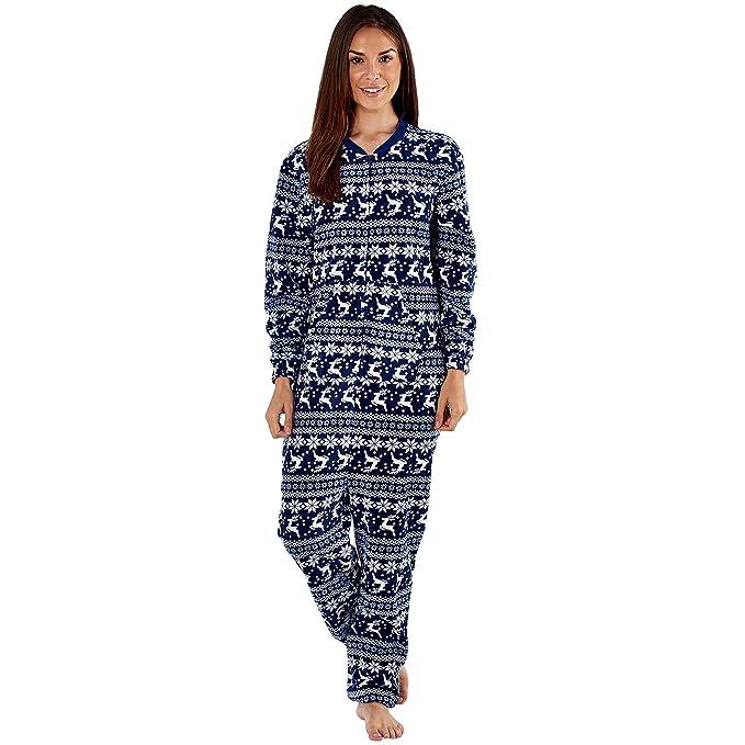 Selena Secrets - Pijama de una Pieza - para Mujer Marineblau Norweger 38-40