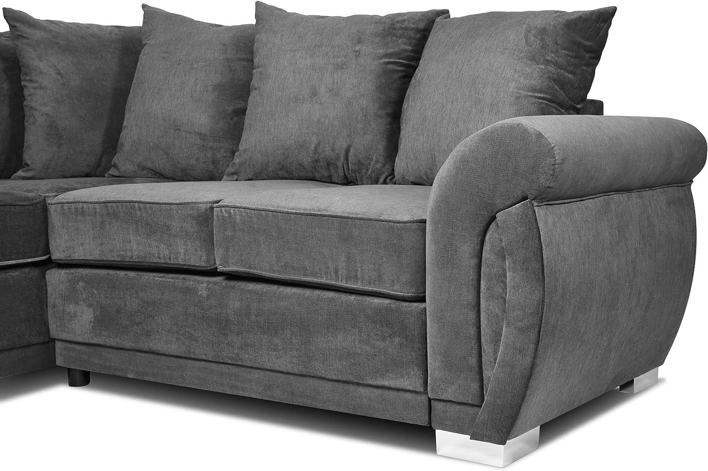 Molly Corner Sofa Sectional 3 Seater 2 Seater Grey Velour Fabric (Grey, Corner 2c2)
