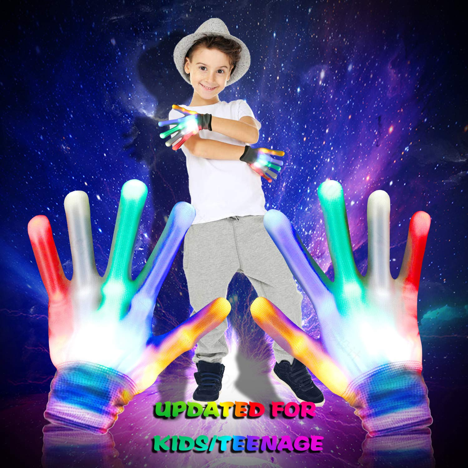 Led Skeleton Gloves for Kids, Light Up LED Flashing Skeleton Hand Gloves 12 Color Changing Flashing Shows Halloween Decoration Costume Party Concert Clubbing, Best Gift for Kids Boys &Girls, for Novelty, 1 Pair, White by Giom