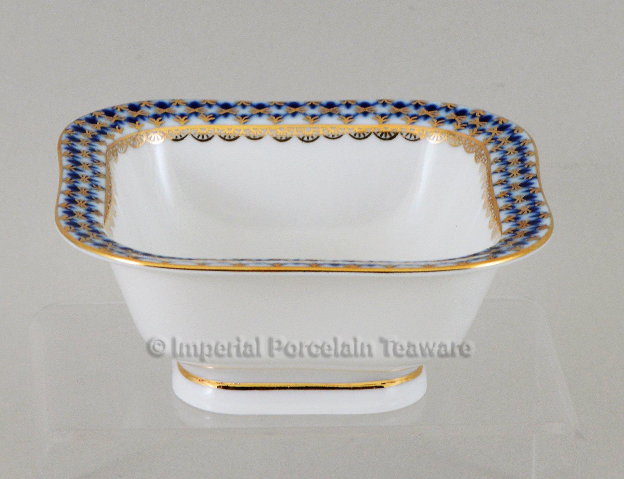 Imperial / Lomonosov Porcelain Cobalt Net 4.5'' Salad/Nut dish