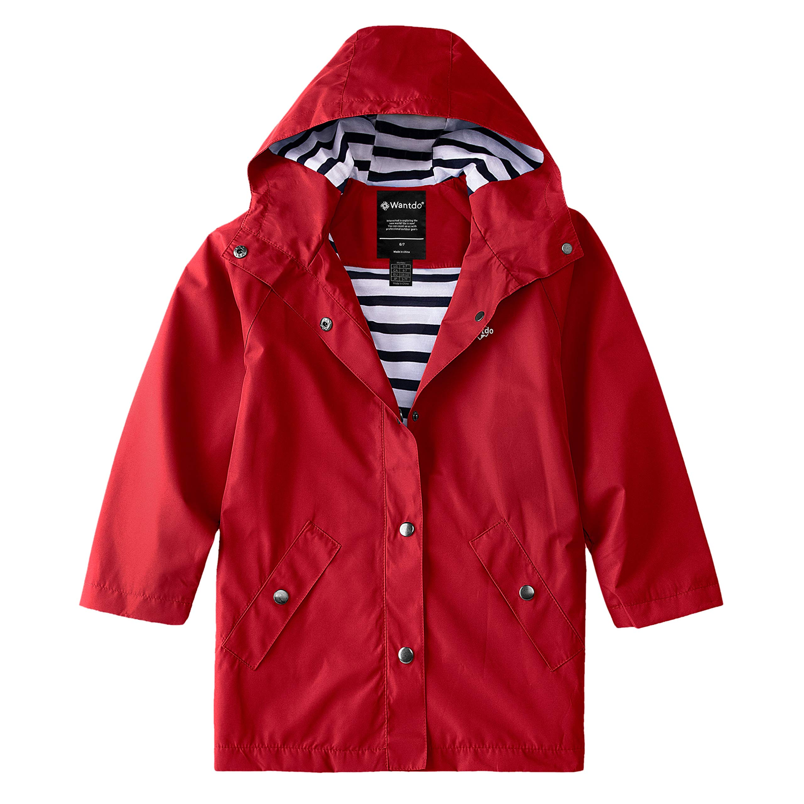 Wantdo Boys Girls Water Resistant Long Rain Jacket Hooded Raincoat Red 6/7 by Wantdo