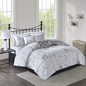 510 DESIGN Marseille Comforter Reversible Postage Paris Printed Medallion Damask Embroidered Pillow Soft Down Alternative Hypoallergenic All Season Bedding-Set, Full/Queen, Grey/Charcoal