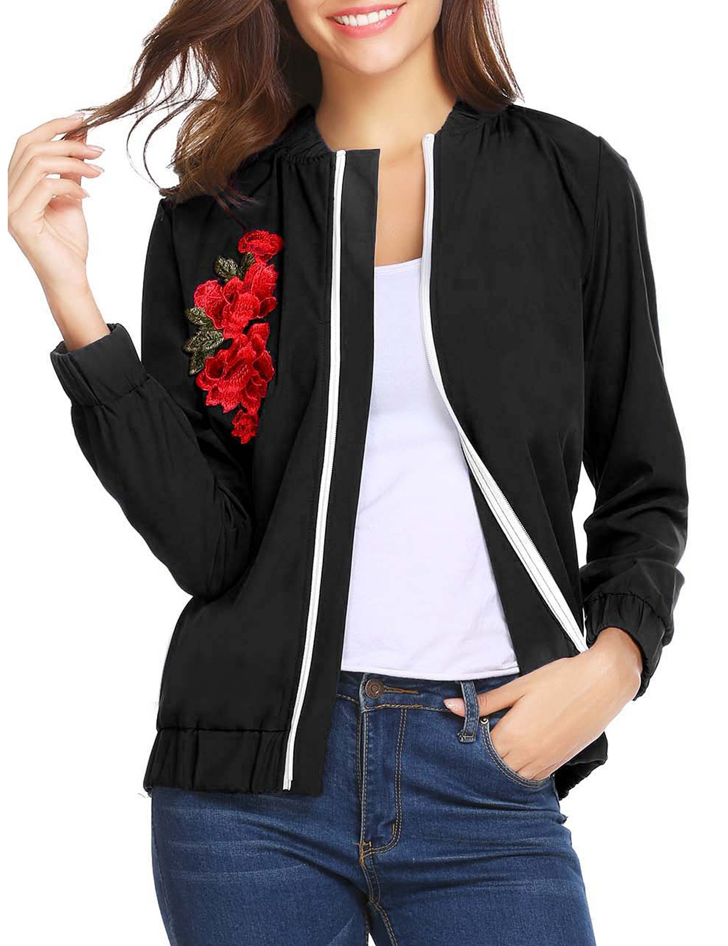 Elover Women's Embroidery Patch Classic Biker Quilted Bomber Flight Jacket (Black, XL)