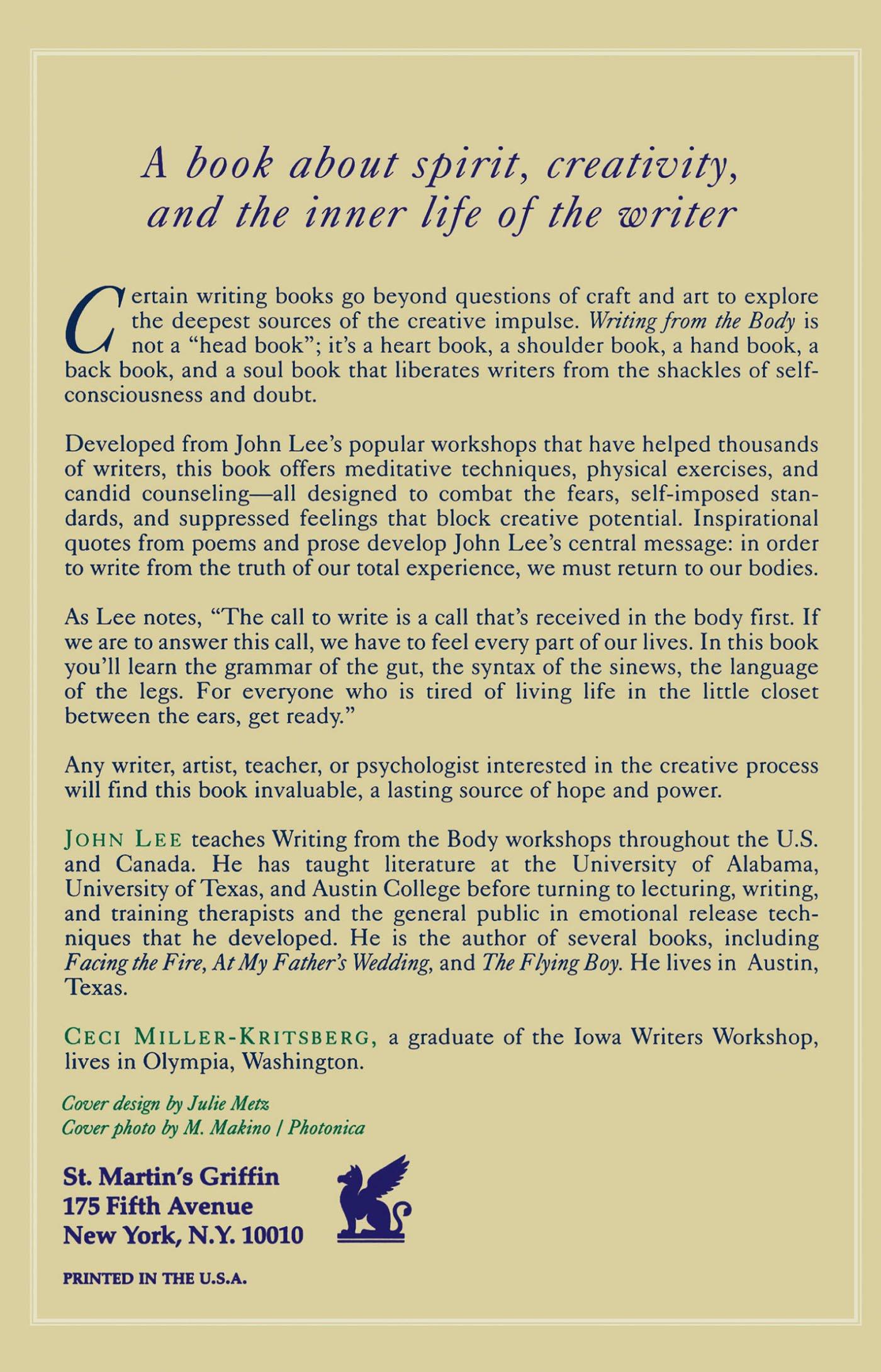 Writing from the Body: Amazon co uk: John Lee: 9780312115364: Books