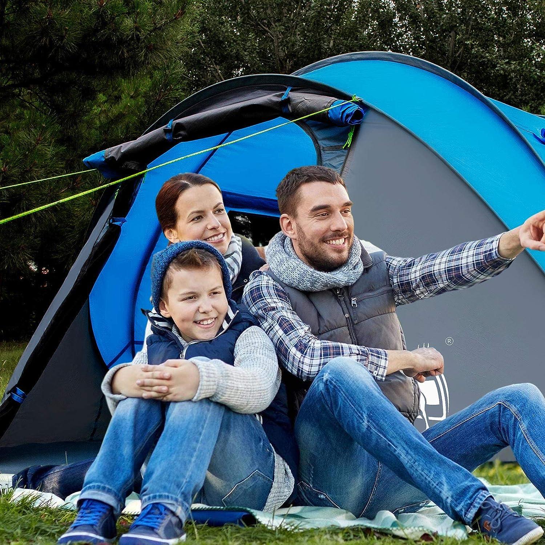 Anti-Pluie Tente pour Plusieurs Personnes Deux Chambres /à Coucher Anti-UV Convient aux Voyages en Famille Tente de Camping Coupe-Vent Un Hall