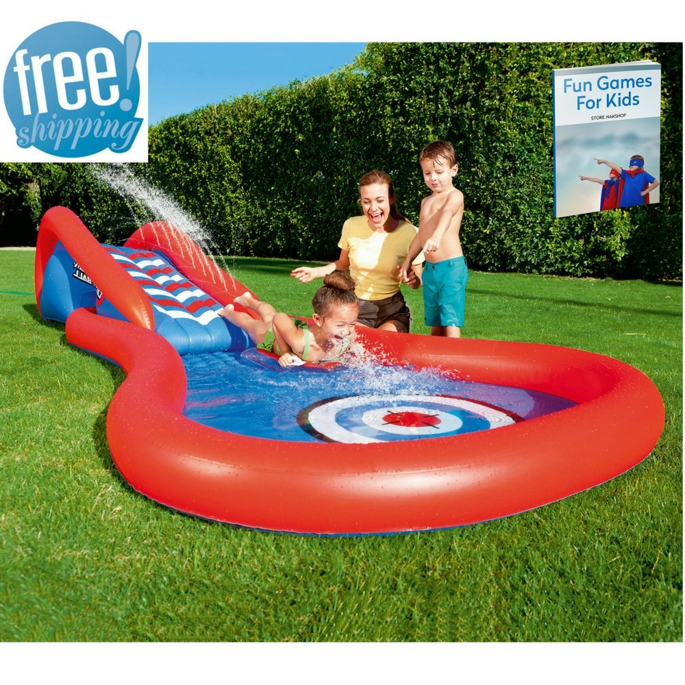 NAKSHOP Inflatable Pool Slide for Inground Pool for Kids Colored Interactive Play Center Home Swimming Poolside Splash Fun Water Swim Toy Summer Outdoor Children and eBook by NAKSHOP