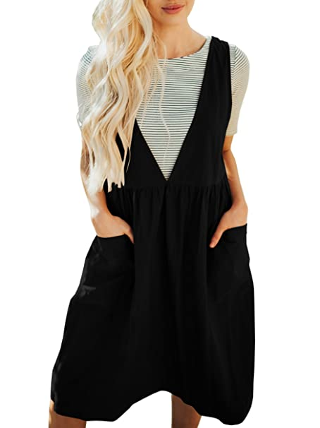 3aff120877 Saodimallsu Womens Straps V Neck Loose Overall Dresses Casual Sleeveless  Jumper Dress with Pockets Black