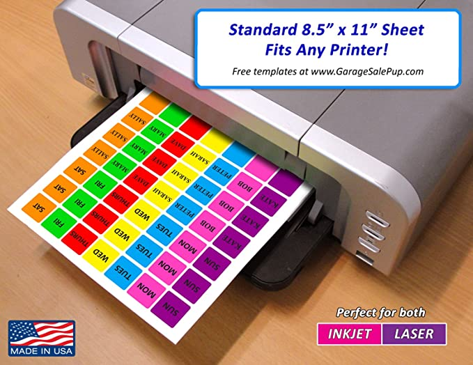 Pack of 1008 1-Inch Square Color Coding Dot Labels, 7 Bright Neon