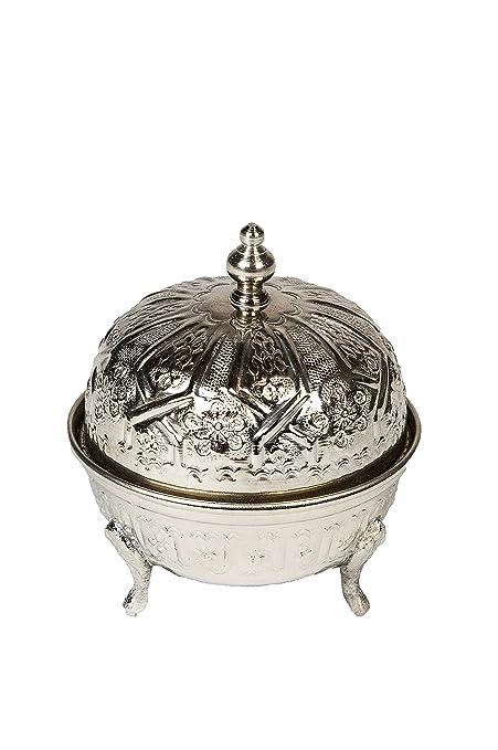 Azucarero, recipiente para menta, Oriente, oriental, marroquí, de latón, plateado de Marruecos Andalous