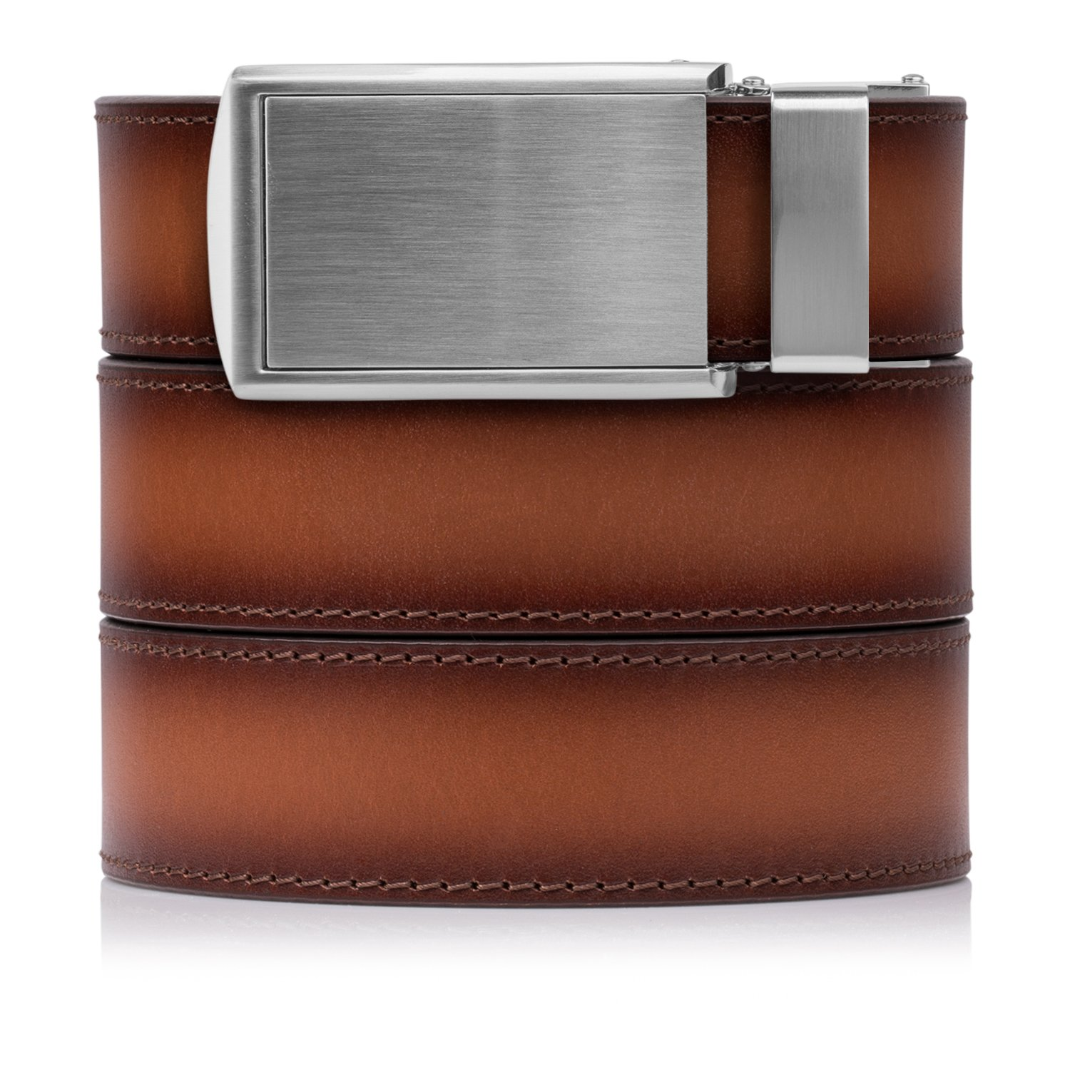 SlideBelts Full Grain Leather Belt (Cognac with Silver Buckle, One Size)