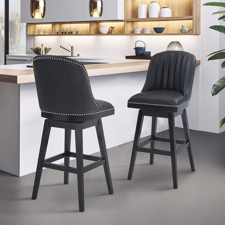 Fabulous Amazon Com Finehaus Lana Wood Swivel Barstool Black Painted Forskolin Free Trial Chair Design Images Forskolin Free Trialorg