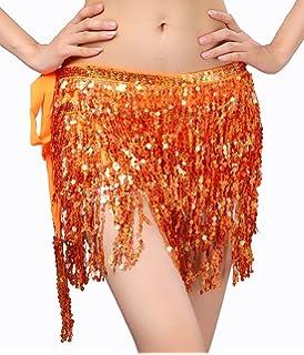 aada3e12f8c6 BELLYQUEEN Ceinture Danse Orientale Femme Costume Danse du Ventre Ceinture  à Paillettes Foulard Belly Dance pour