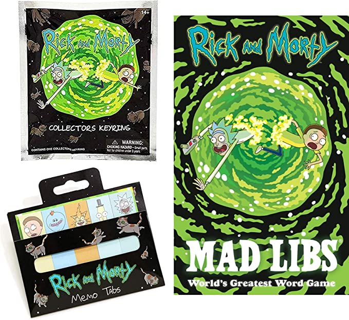 Stickies Game Rick & Morty Wacky Character Stories Bundled with Collectors3D Figure Blind Bag Keychain + Mad Libs + Memo Tabs Pack 3 R&M Galactic Items: Amazon.es: Juguetes y juegos