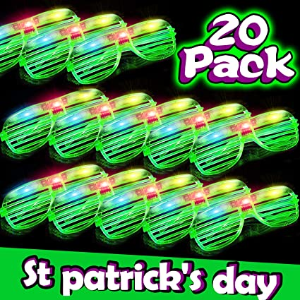 Patricks Party Supplies Irish Party Favors Patricks Day Accessories for Kids Adults St St Patricks Day Party Favors Supplies 5 Pack Shamrock Sunglasses Green Shutter Shades Eyeglasses St