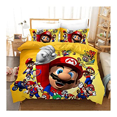 Supermario Bros Kids Soft Bedding Sheets Set Super Mario 3 Piece Twin Size (C, 200200cm (3 pcs)): Home & Kitchen
