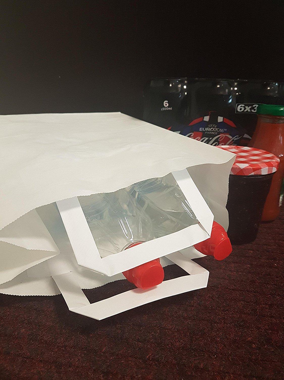 78a49686d9 sac sac commerce Idéal comme cabas boutique 100 Sacs papier kraft blanc à  poignées plates 6 LITRES : 22 cm haut x 28 large ...