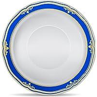 [10 Count - 5oz Bowls] Laura Stein Designer Tableware Premium Heavyweight Plastic White Dessert Bowl with Blue & Gold…