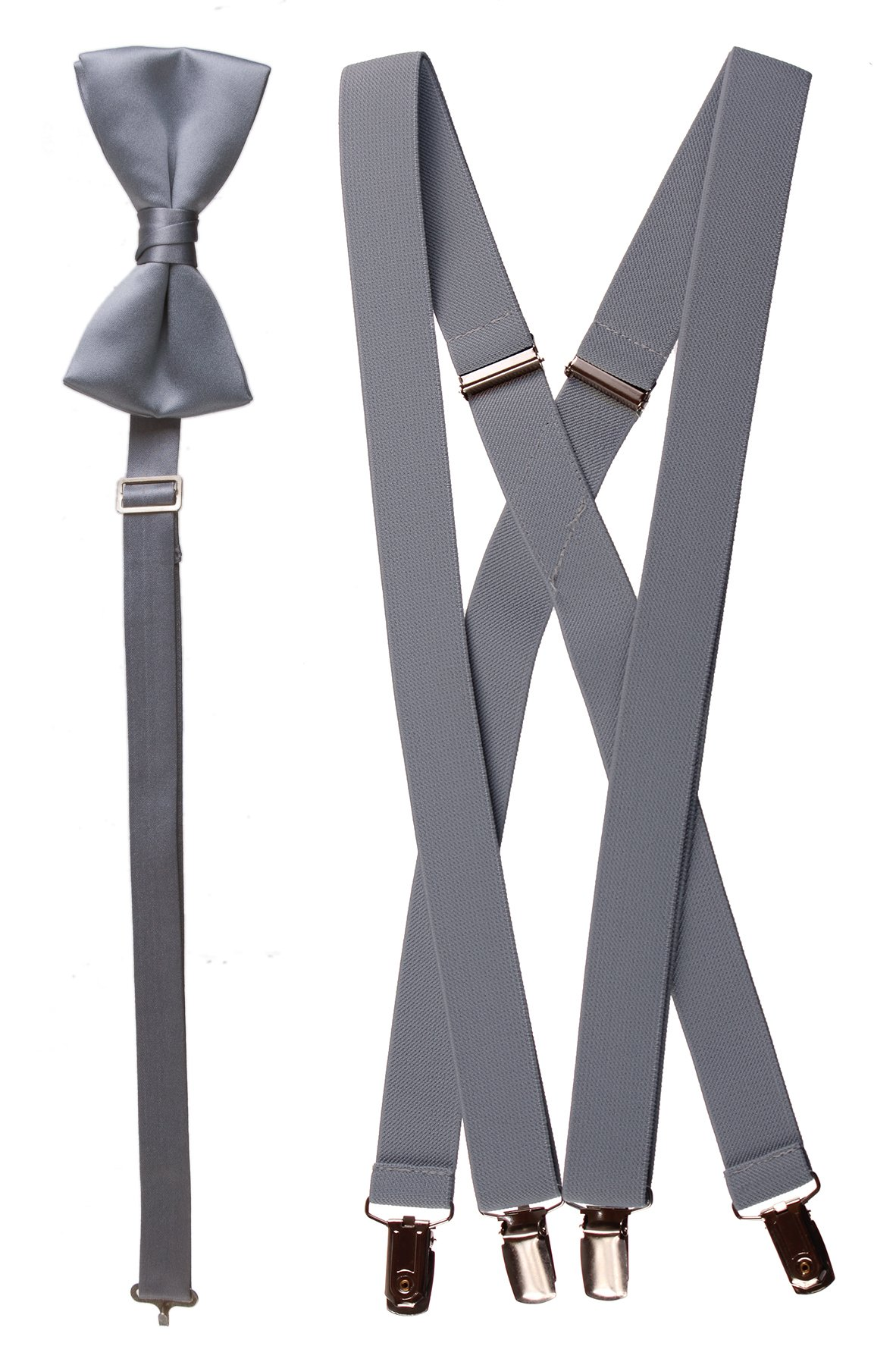 Matching Grey Adjustable Suspender and Bow Tie Sets, Kids to Adults Sizing (30'' Boys Ages 6-11)