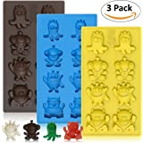 Chocolate Candy Mold Crazy Monsters - Set of 3 for 24 Candies - Non-Stick BPA Free Silicone Gummy Molds, Jelly Molds, Ice Cube Tray, Gelatin Mold, Soap Mold, Fat Bomb Molds