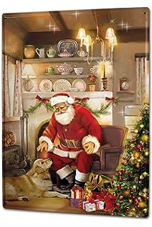 Tin Sign Nostalgic Christmas Decoration Santa Claus doll gifts Metal ...