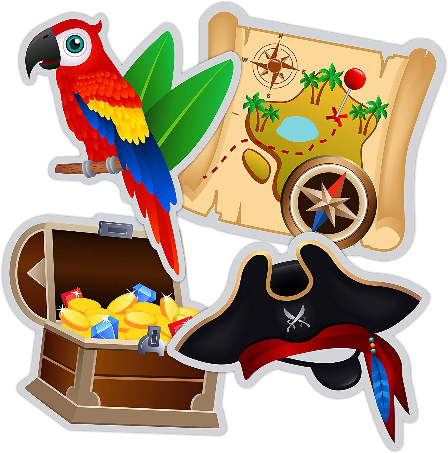 Pirate Cutouts - Pirate Themed Birthday Party Decorations Supplies - 20 PCS