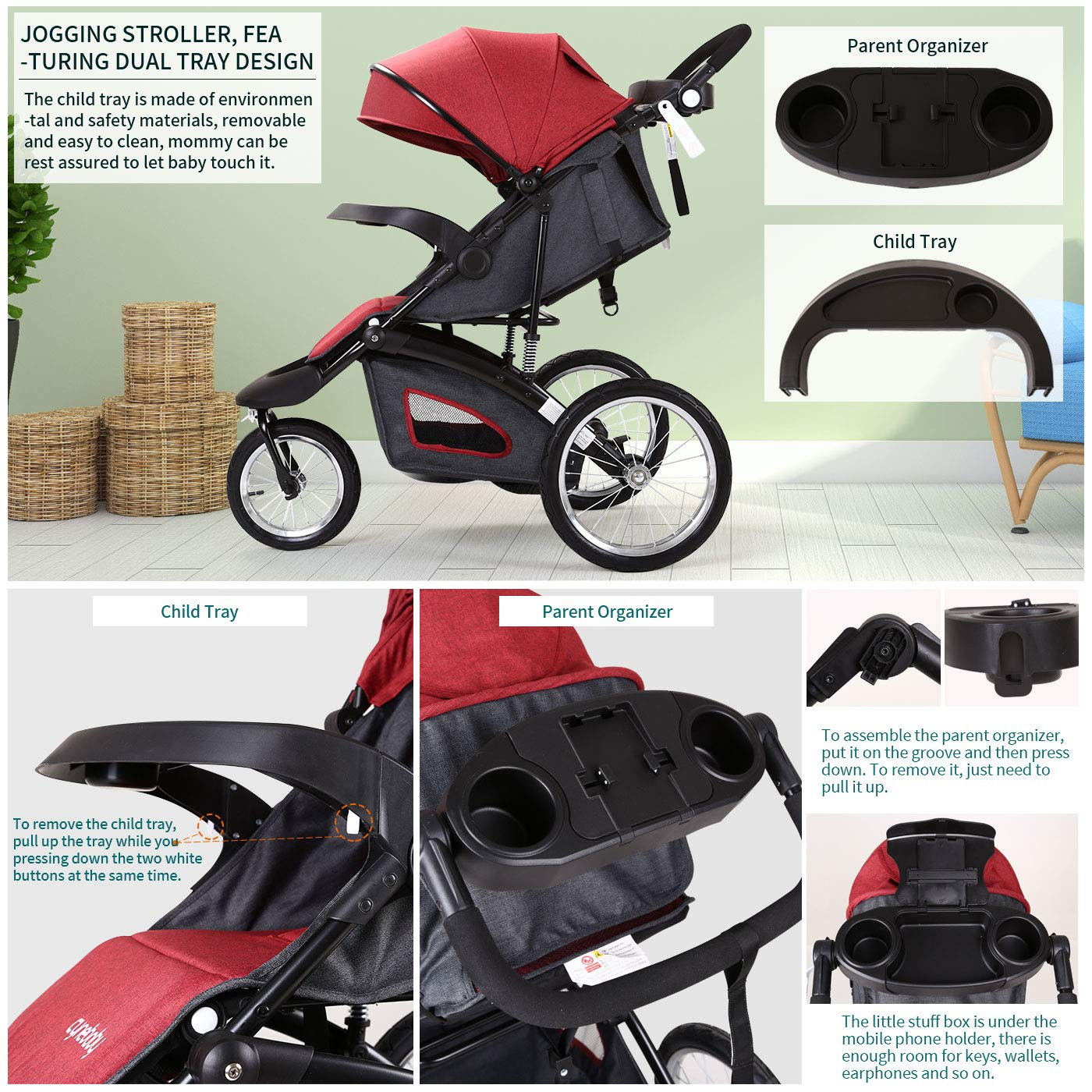 Jogging Stroller Fold City Baby Jogger Travel Citi Jog Strollers Single Toddler Baby Pram Jogging Compact Urban Ultralight Joggers Beby Carriage Pushchair Stroller Travel System by Cynebaby / HAIXIAO (Image #4)