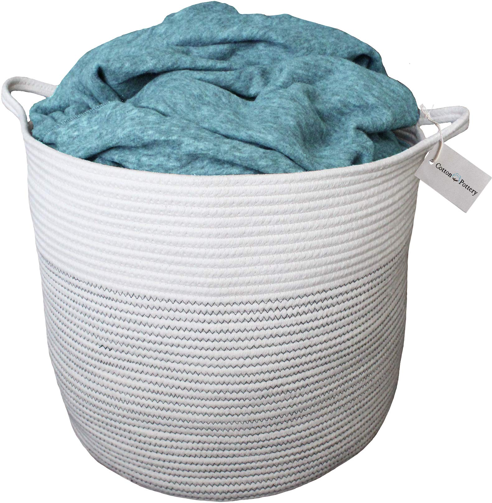 """Cotton Pottery Extra Large Woven Blanket Basket 15"""" X 17"""" Decorative Cotton Rope Storage Basket 