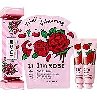 TONYMOLY Sheet Mask with Hand Cream Box Set, I'm Rose, 168 g