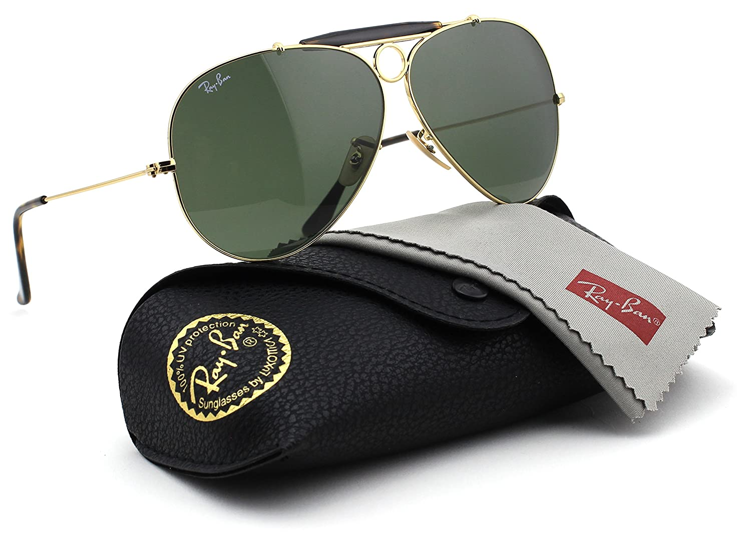 f3155dc88003c Amazon.com  Ray-Ban RB3138 SHOOTER Unisex Aviator Sunglasses (Gold Frame  Green Lens 001