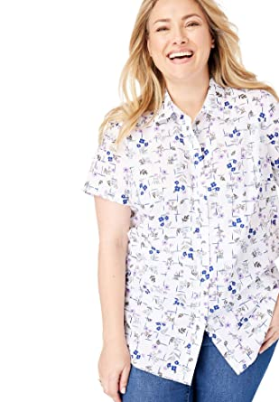 b0122118 Woman Within Women's Plus Size Perfect Short Sleeve Button Down Shirt -  Amethyst Grid Floral,