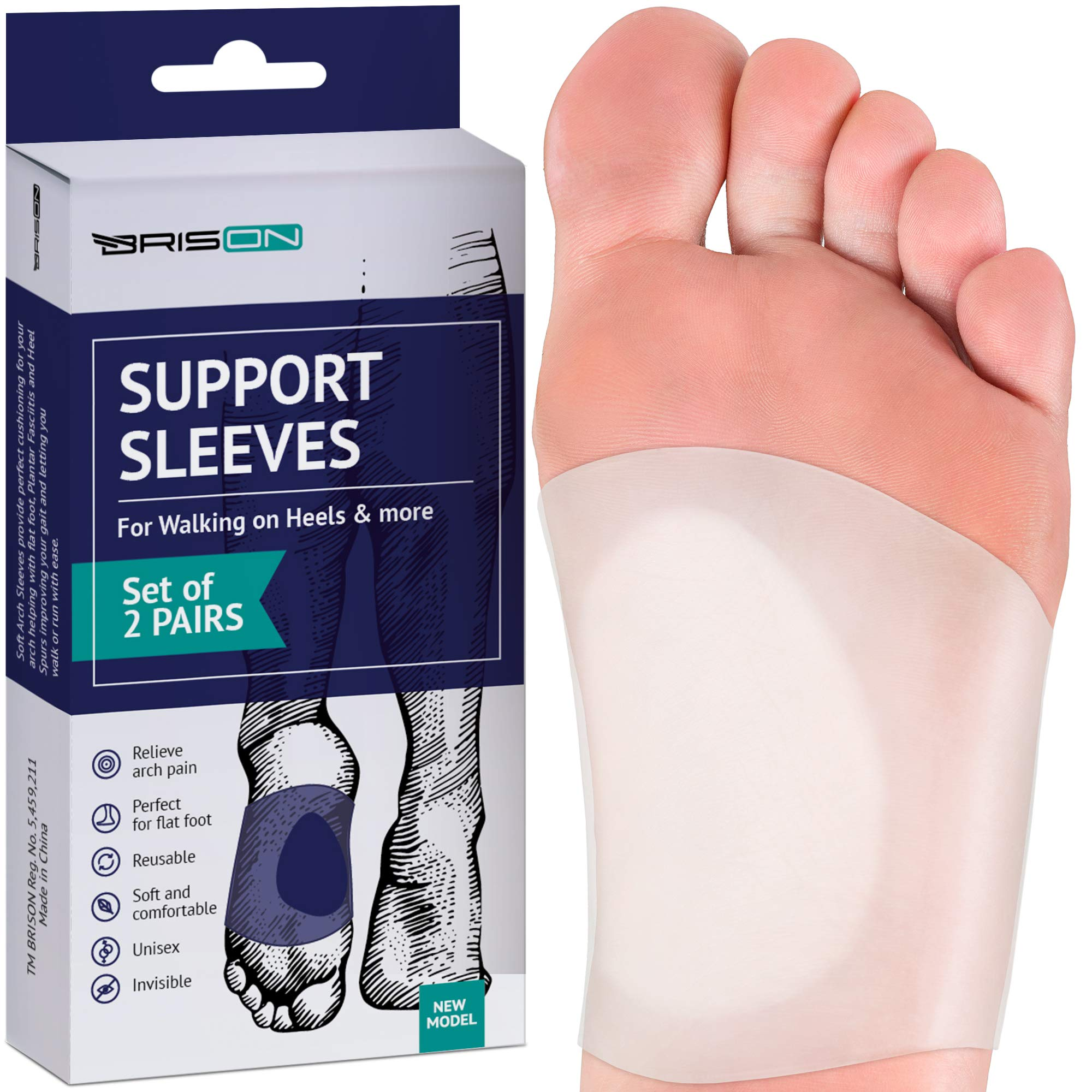 Gel Arch Support Set - Soft Silicone Clear Reusable Arch Sleeves for Flat Foot Pain Relief Plantar Fasciitis Support Cushioned Arch and Heel Spurs - Women Men - Large M5-13 / W7-14 by BRISON