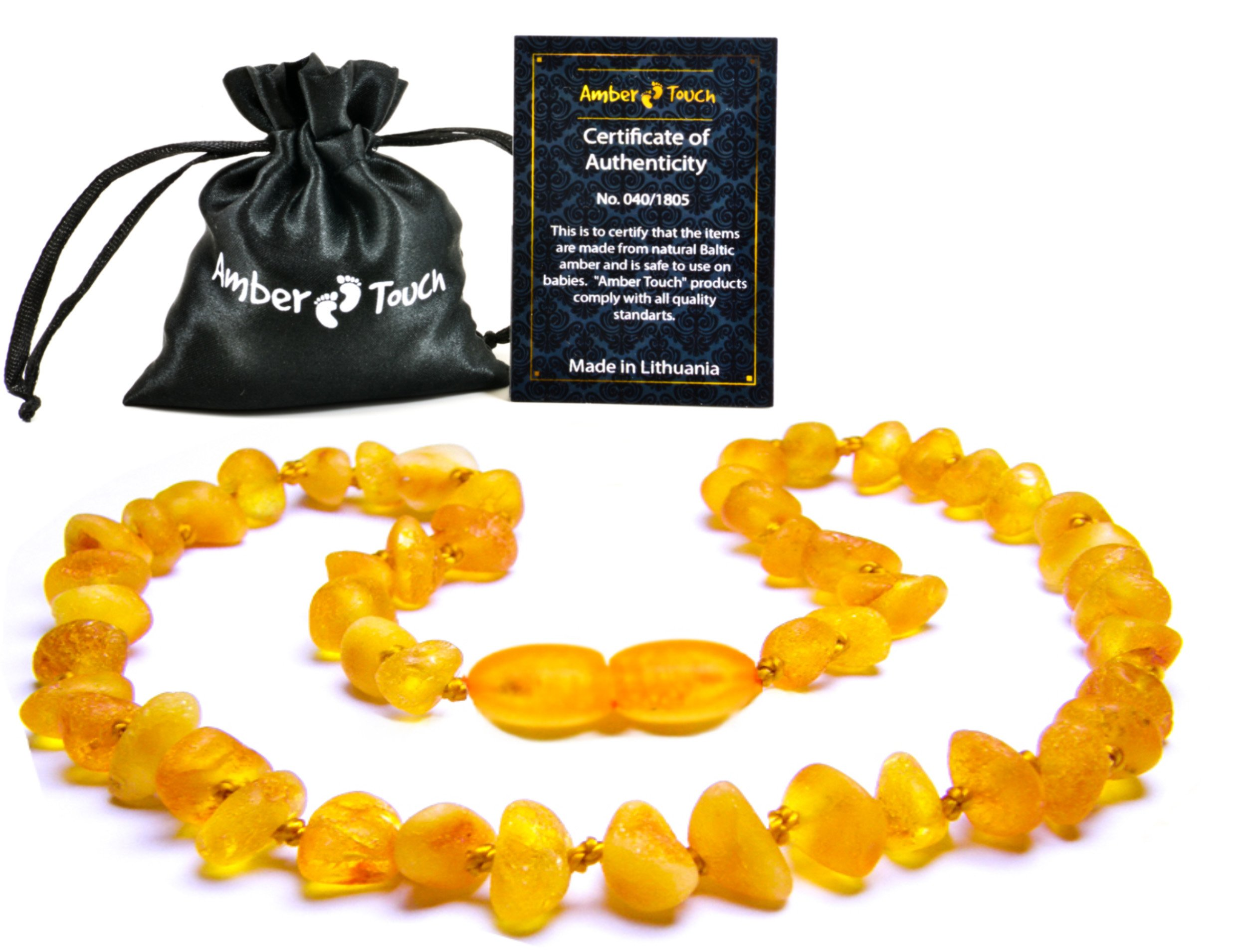 Baltic Amber Teething Necklace For Babies (Unisex) - Anti Flammatory, Drooling & Teething Pain Reduce Properties - UNPOLISHED Natural.