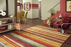 Mohawk Home New Wave Boho Stripe Printed Area Rug,5'x8',Multicolor