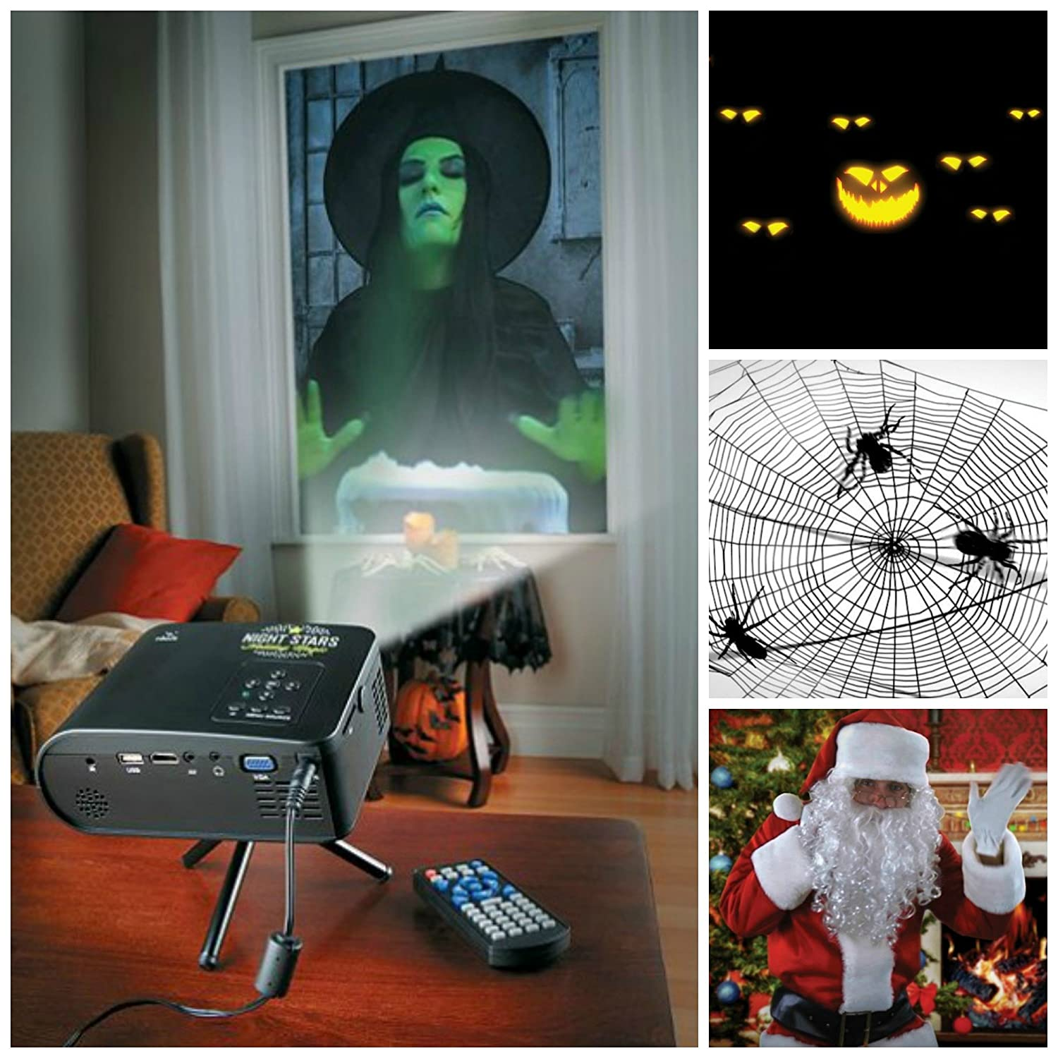 amazoncom virtual holiday animated projector kit for window or wall w12 scenes for halloween and christmas home kitchen