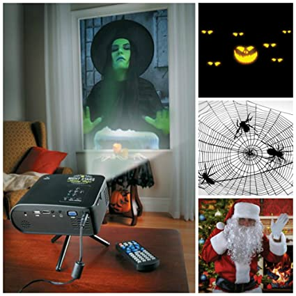 virtual holiday animated projector kit for window or wall w12 scenes for halloween