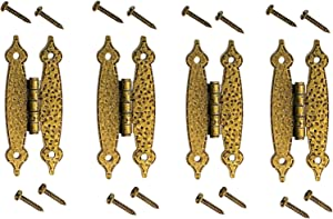 """4 Heavy Duty Hammered Antique Brass Gold Hinge - 3.5"""" Long Antique Cabinet Vintage Furniture Reproduction"""